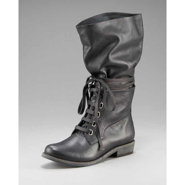 7 For All Mankind Lace Wrap Combat Boot (580 BRL) ❤ liked on Polyvore featuring shoes, boots, women, mid-calf boots, mid calf combat boots, lace up combat boots, army combat boots, slouch boots and mid calf lace up boots