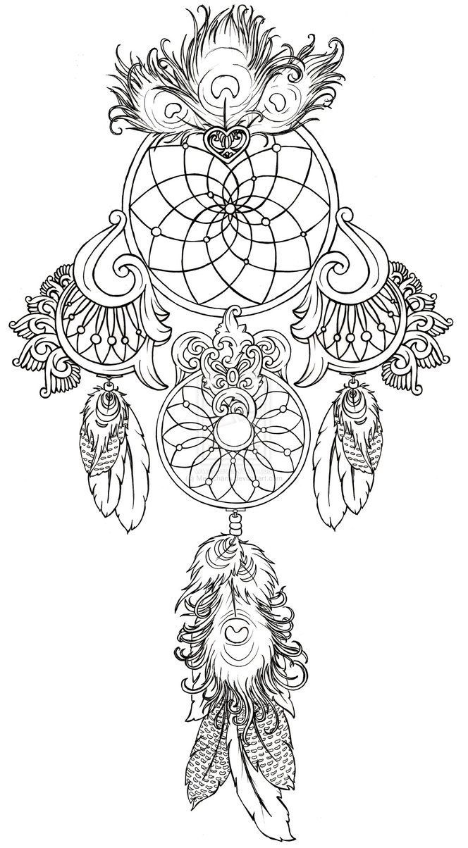 Coloring for adults mindfulness - Art Nouveau Dream Catcher Tattoos Google Search