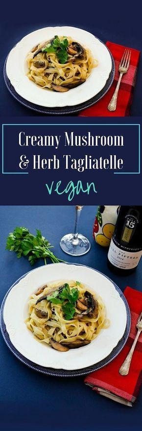 Garlicky mushrooms and fresh herbs tossed through freshly cooked tagliatelle. Recipe from Italian chef Gennaro Contaldo for Bertolli. Vegan, Vegetarian and Dairy Free pasta dish.