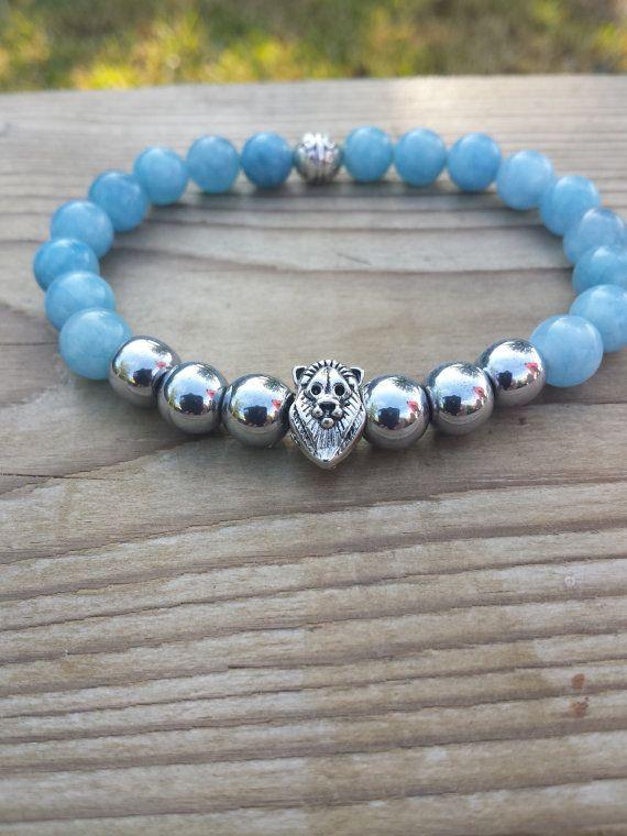 Men's Bracelet Men Lion Bracelet Hematite Blue by BohemianChicbead