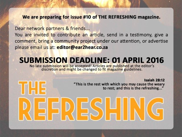 THE REFRESHING magazine: ISSUE #10 – prospectus – EAR2HEAR ::