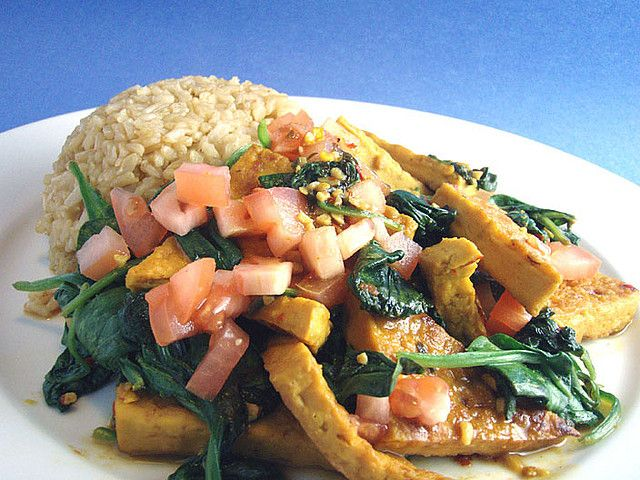Tonight, by the Tofu King :: tofu & wilted spinach with ...