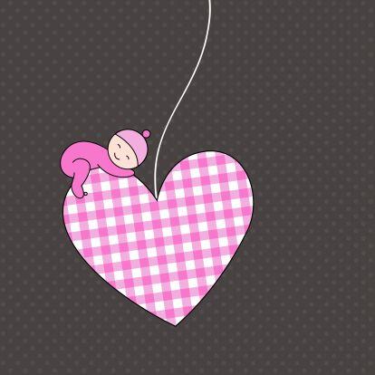 Slapend meisje op hartje - Felicitatiekaarten - Kaartje2go