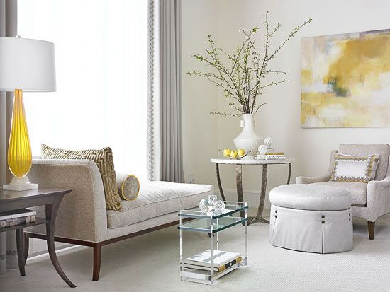 grey and yellow from traditional home magazine.Showhouse Room, Design Bedroom, Decorating Blogs, Decor Bedrooms, Master Bedrooms, Sitting Room, Traditional Homes, South Shore Decorating, Neutral Palettes