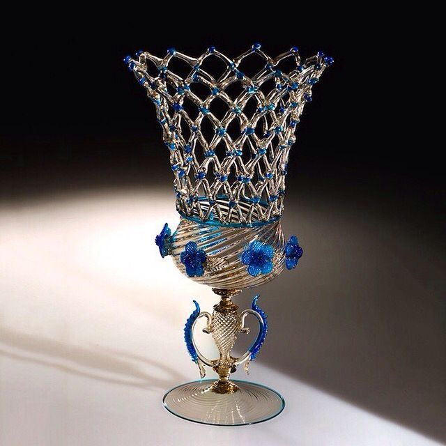 Murano Art Glass Vase with Blue Flowers. This really is outstanding!
