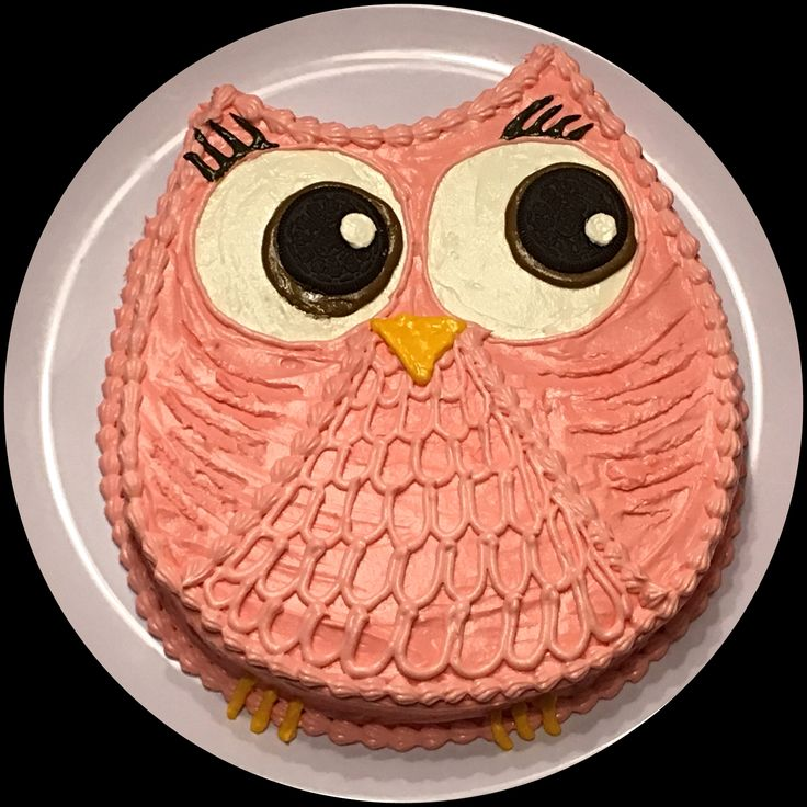 "Cute Pink Owl Cake!! Used a 12"" round cake pan and cut to shape."