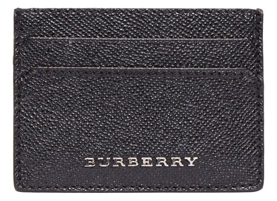 Black London Leather Sandon Card Case by Burberry London. Classic five-compartment cardholder in black semigloss grained calf leather. Matte gunmetal-tone raised logo at front face. Greyscale signature plaid printed polyester lining at interior. http://www.zocko.com/z/JEcoZ
