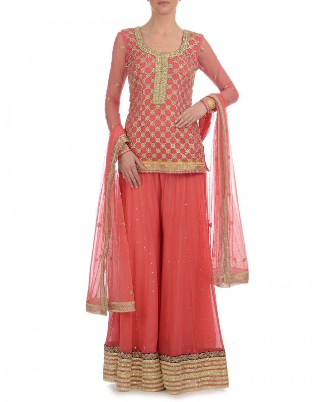 BHUMIKA GROVER. Coral Suit with Sharara Pants