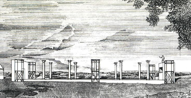 View of the dance floor, Valle della Caffarella with columns and sculptures from Cinecittà (1979). Drawing by Franco Purini, ink on tracing paper.