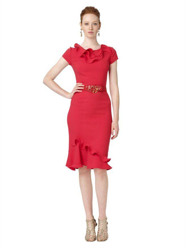 Splurge: Nicki Minaj's Oscar de la Renta Red Short Sleeve Petal Collar and Hem Dress