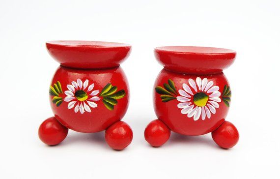 Swedish Vintage Hand carved Wood Candle Holders Set of 2 colored  wooden Candlesticks Traditional Wood Candleholders Scandinavian Home Deco