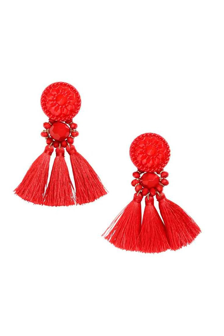 Earrings with tassels: Earrings with plastic beads and tassels. Length 8.5 cm.
