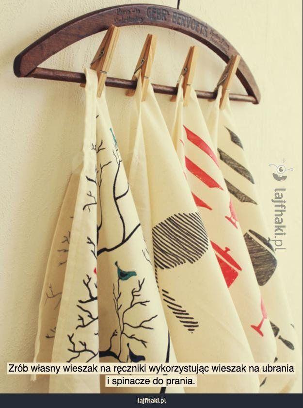 Pomysłowy wieszak na ręczniki - Zrób własny wieszak na ręczniki wykorzystując wieszak na ubrania i spinacze do prania.