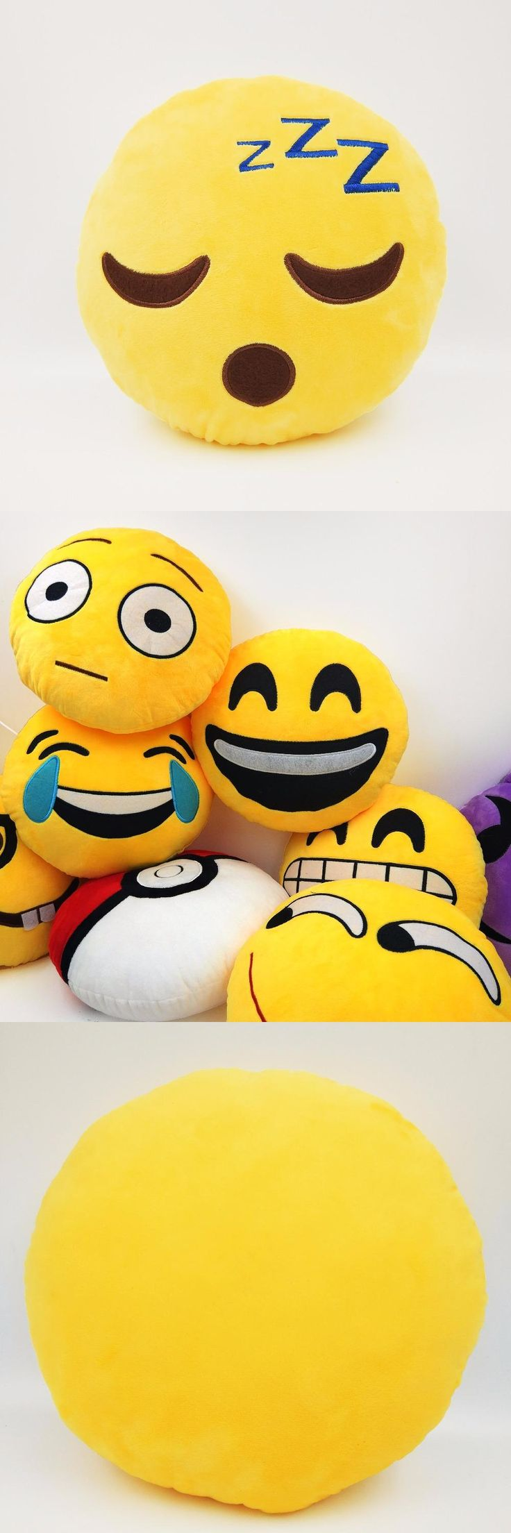 [Visit to Buy] Smiley Emoji Pillow Sleep Look Yellow Round Sofa decorative Pillow Stuffed Plush Cojines Whatsapp Emoji Smiley face Pillow #Advertisement