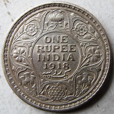 India, 1 rupia, 1918, Giorgio V