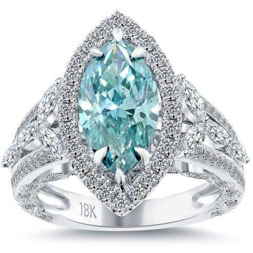 4.10 Carat Fancy Blue Marquise Cut Diamond Engagement Ring 18k Vintage Style.