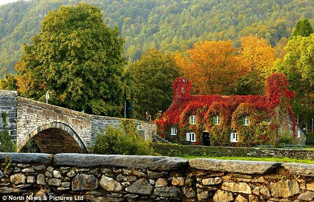 Ty hwnt i'r bont tearooms, Conwy North Wales in Autumn