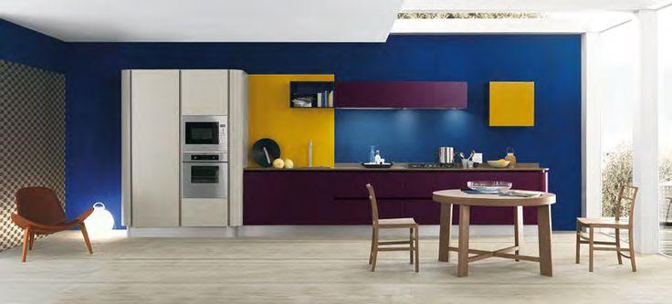 #Blue #Yellow #Purple #Kitchen #modern #bright