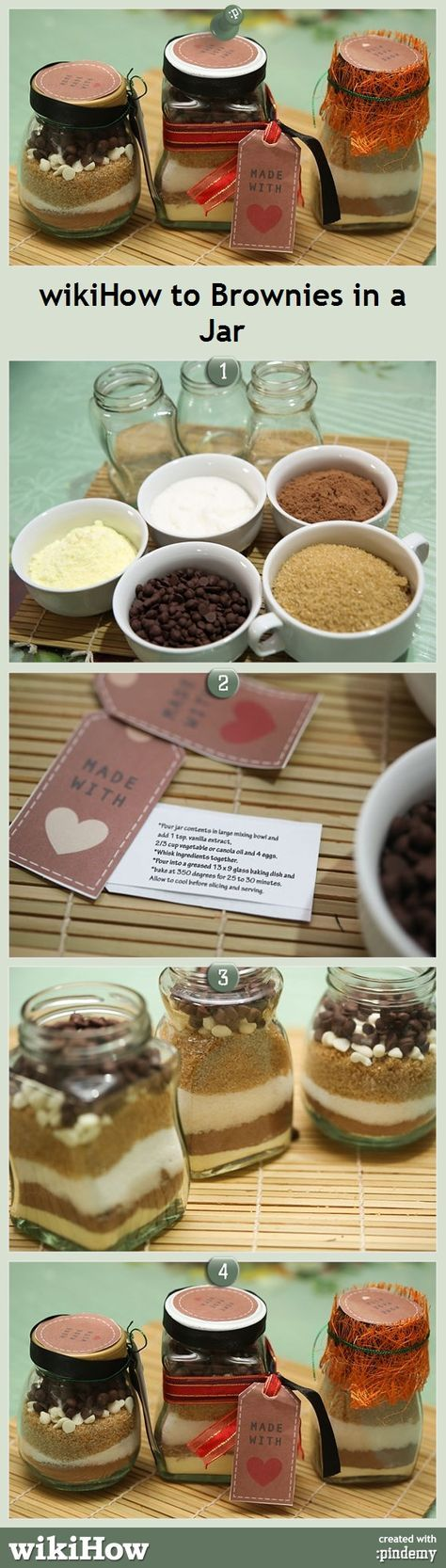 How to Make Brownies in a Jar, from wikiHow! It makes a perfect Christmas gift. #christmasideas