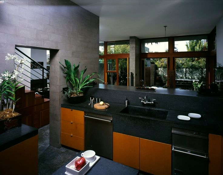 Asian Kitchen with Wall Tiles, L-shaped, Standard height, double dishwasher, dishwasher, Undermount sink, European Cabinets
