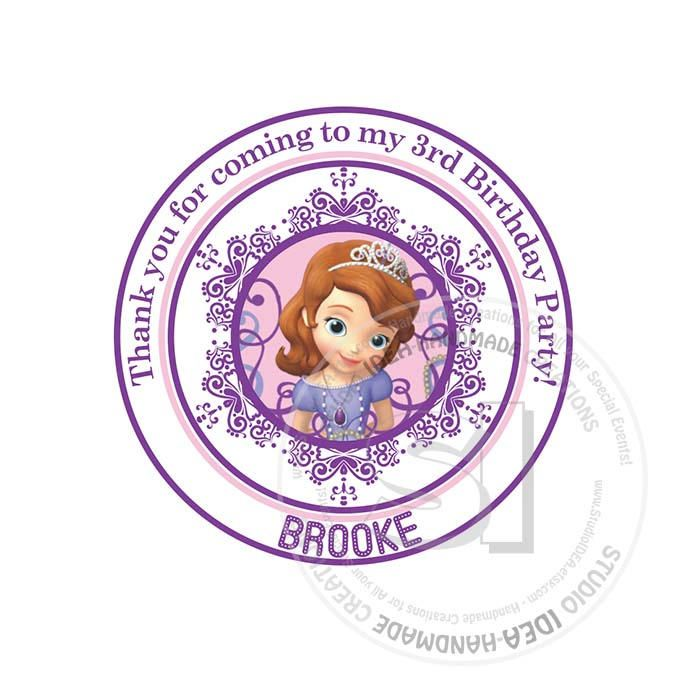 """Custom Stickers- Sophia the 1st Birthday 2.5"""" STICKERS-Purple-Pink Princess Sophia the 1st Thank you 2.5"""" Stickers by StudioIdea on Etsy"""