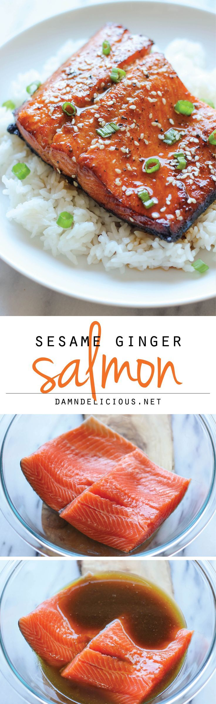 Sesame Ginger Salmon -  {Needs a few tweaks for paleo}. A super easy salmon dish bursting with so much flavor, and it's hearty-healthy too!