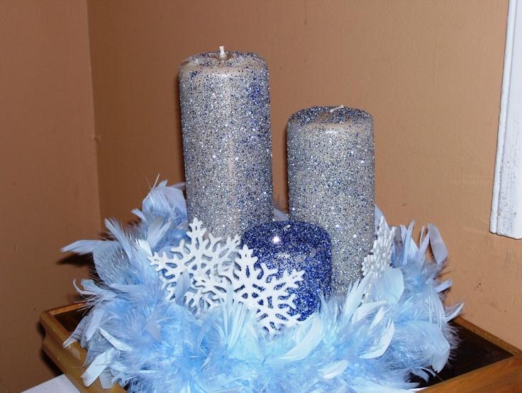Feather candle centerpiece centerpieces pinterest