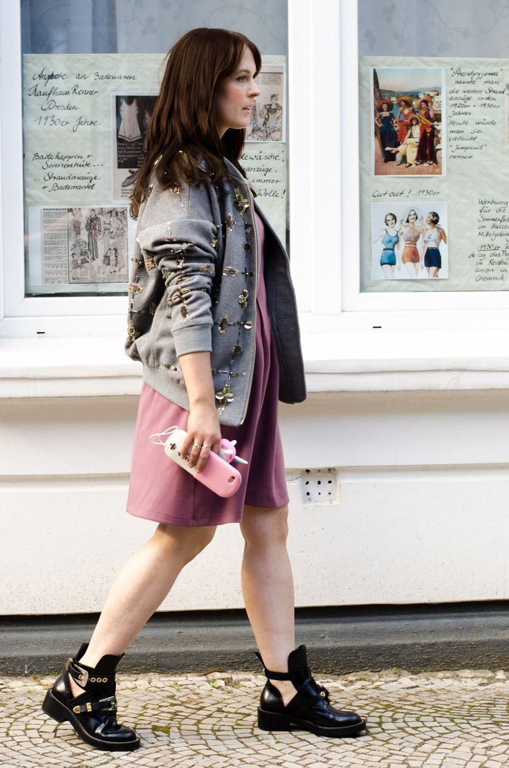 embellished bomber jacket - by malene birger / about you dress / balenciaga cut out boots