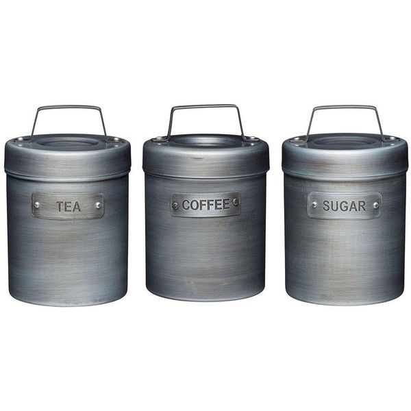 Kitchen Craft Industrial Kitchen Tea, Coffee, Sugar Metal Storage... (355 CNY) ❤ liked on Polyvore featuring home, kitchen & dining, food storage containers, tea canisters, metal food storage containers, metal tea canisters, storage canisters and tea cannister