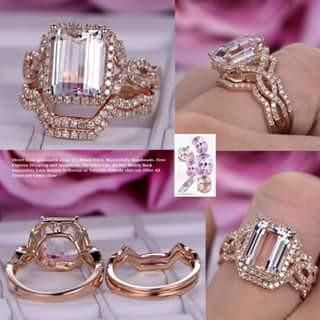 Emerald Cut Morganite Engagement Ring Trio Sets Pave Diamond Wedding 14K Rose Gold 8x10mm