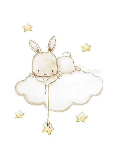 "Nursery Art ""BUNNY FISHING STARS"" Art Print, Bunny Nursery Wall Art, Bunny Nursery Art, Clouds and Stars Art, Baby Wall Art, Aida Zamora"