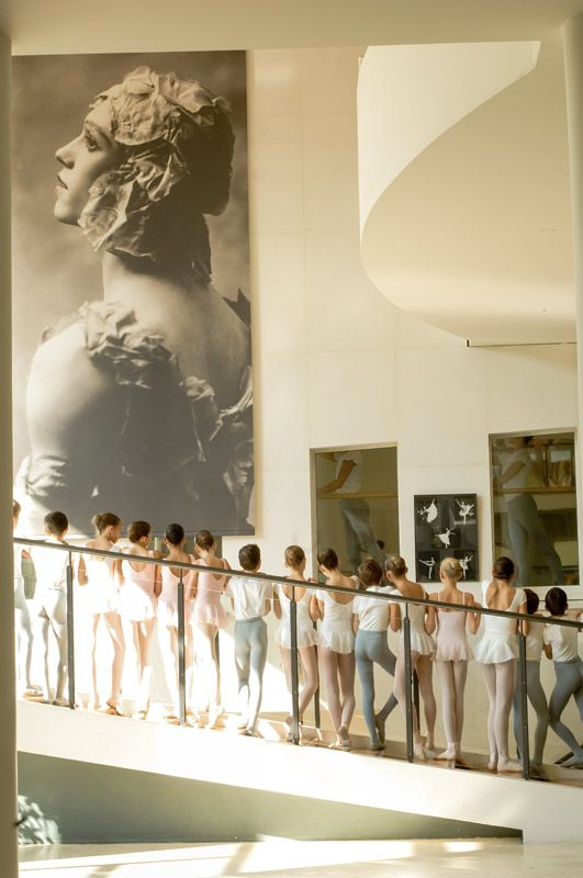"Paris Opera Ballet School with photo of Nijinsky in his costume for ""Le Spectre de la Rose"""