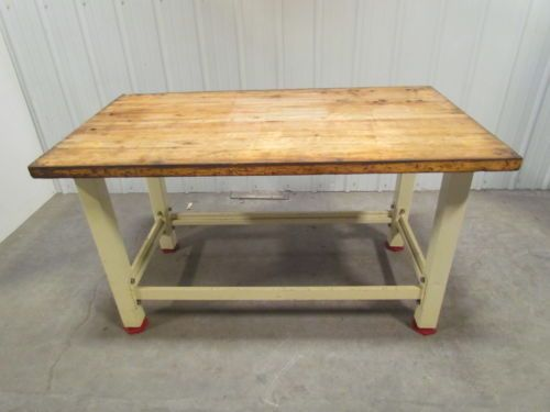 Heavy Duty Butcher Block Top Workbench Table Bolted Steel Frame 60x34x34 The Studio Blocks And
