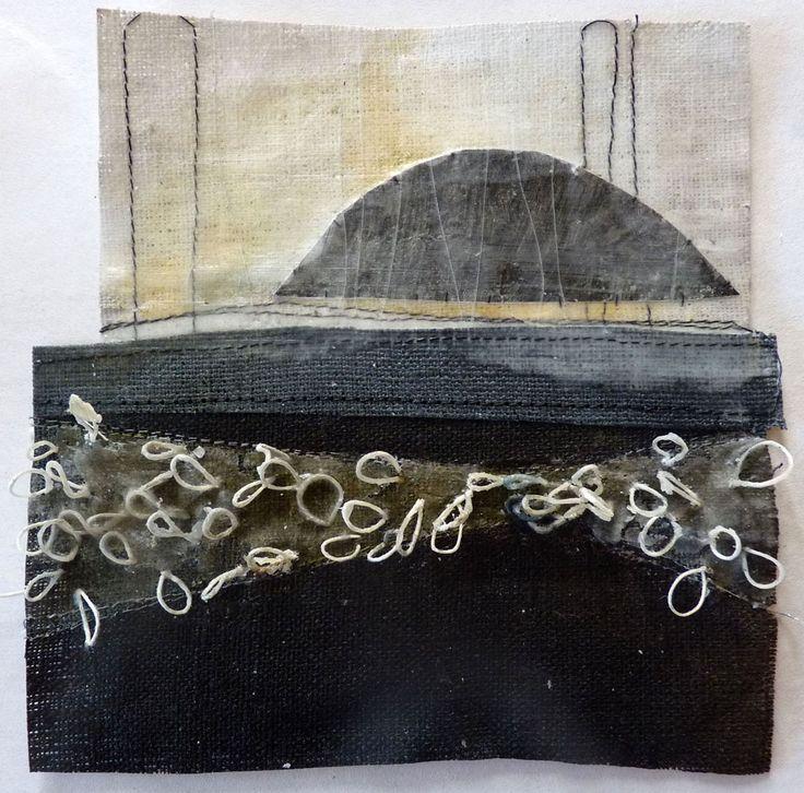 Debbie Lyddon - Marshscape Collage #5, Linen, wax , linen thread