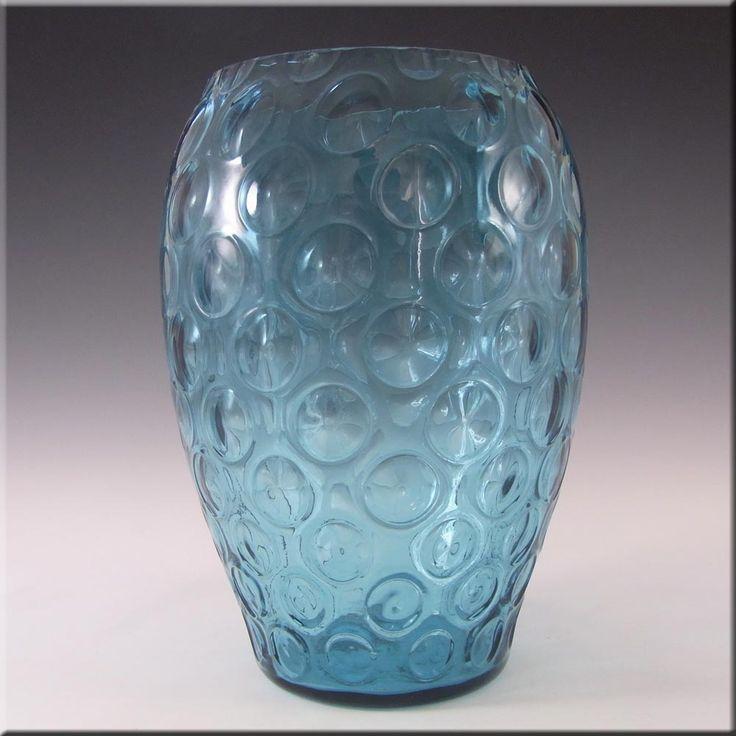 Borske Sklo 1950's Blue Glass Optical 'Olives' Vase - £20.00