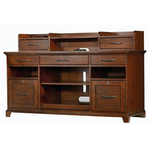 Wendover Computer Credenza and Smart Hutch Combo with Dropfront Keyboard Drawer, Pullout Printer Storage and 2 Locking File Drawers by Hooker Furniture - Ivan Smith Furniture - Desk & Hutch Arkansas, Louisiana, Texas Furniture, Appliances & Mattress Stores