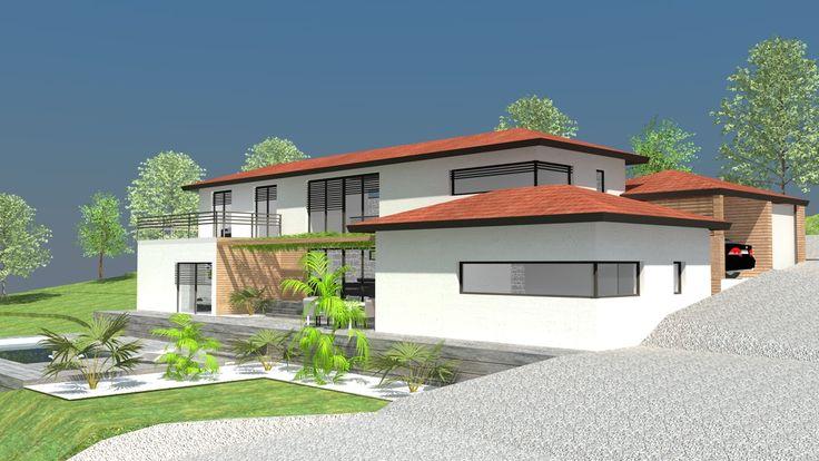 Façade maison 3D baies vitrées 2 étages