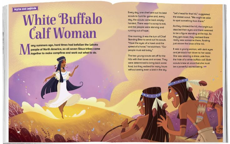 Beautifully illustrated by Giorgia Broseghini (https://www.behance.net/GiorgiaBros) and in Storytime 34 – a Sioux legend, White Buffalo Calf Woman. ~ STORYTIMEMAGAZINE.COM