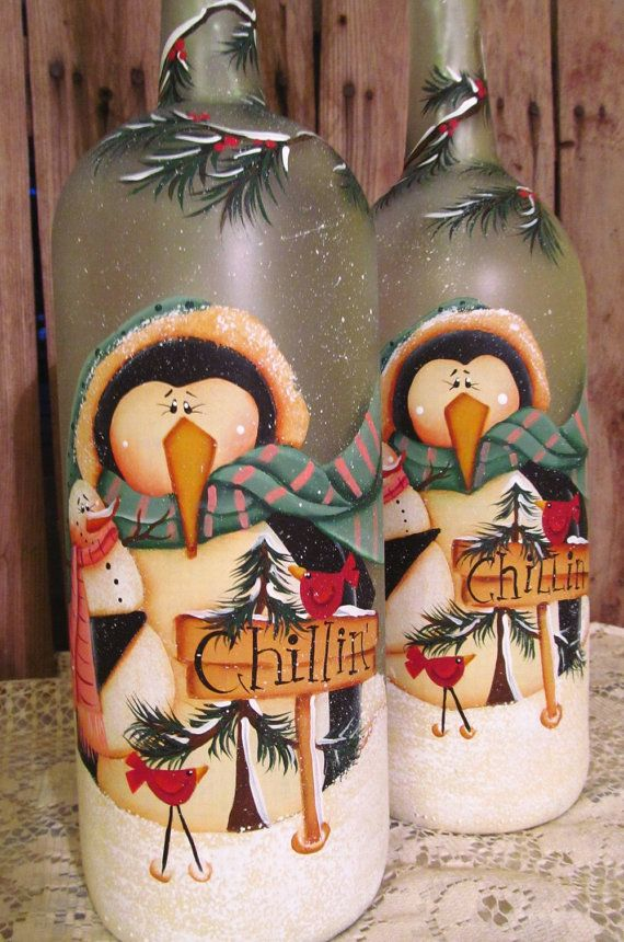 Peguin and Snowman Frosted Glass Wine Bottle by PaintingByEileen, $26.00