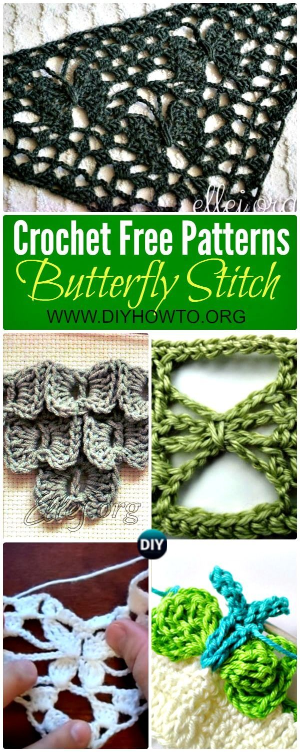 Collection of Crochet Butterfly Stitch Free Patterns: Crochet Bow Butterfly stitch, Crochet Moon Butterfly stitch; Crochet Night Butterfly stitch via @diyhowto