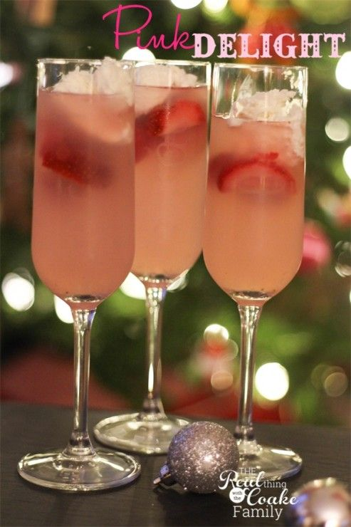 Pink Delight ~ Drink Recipes. Perfectly delicious non-alcoholic drink for a family celebration such as New Year's eve. #NewYears #DrinkRecipe #FamilyFun