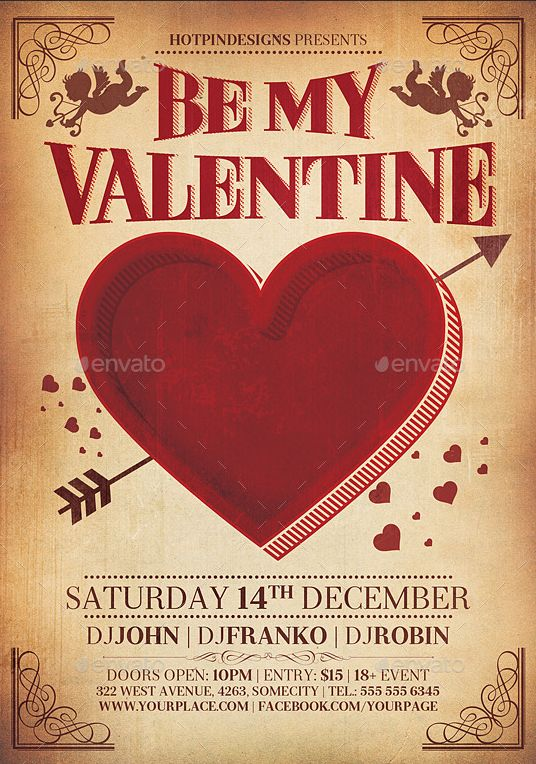 Vintage Feel Valentine Day Flyer Template http://www.thedesignwall.com/20-best-valentines-day-flyer-templates/
