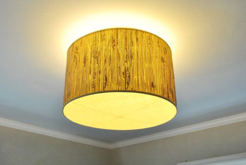 """How to replace your """"boob"""" like fixtures without playing with electricity. DIY shades for flush mount light fixtures. PERFECT!! I will be doing this in the hall and the bath... and the closet."""