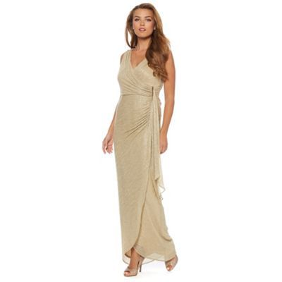 Debut Gold shimmer jersey maxi occasion dress- at Debenhams.com