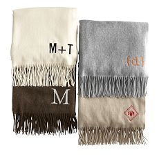 off the registry wedding / monogrammed Cashmere Throw, Mark and Graham (Williams Sonoma new gift brand) $99