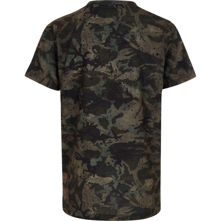 Boys khaki camo paint splat print T-shirt - T-shirts - T-Shirts & Vests - boys