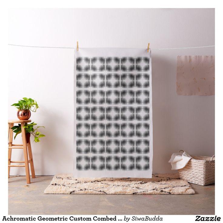 Achromatic Geometric Custom Combed Cotton Fabric