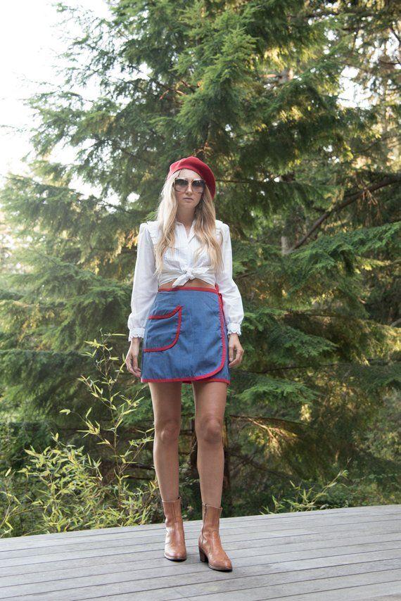 0b6a7b0246d Vintage 60's Denim Mini Skirt, Mini Wrap Skirt, 60's Mod Skirt, Red ...