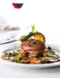 Krebinetter med bacon og svampe
