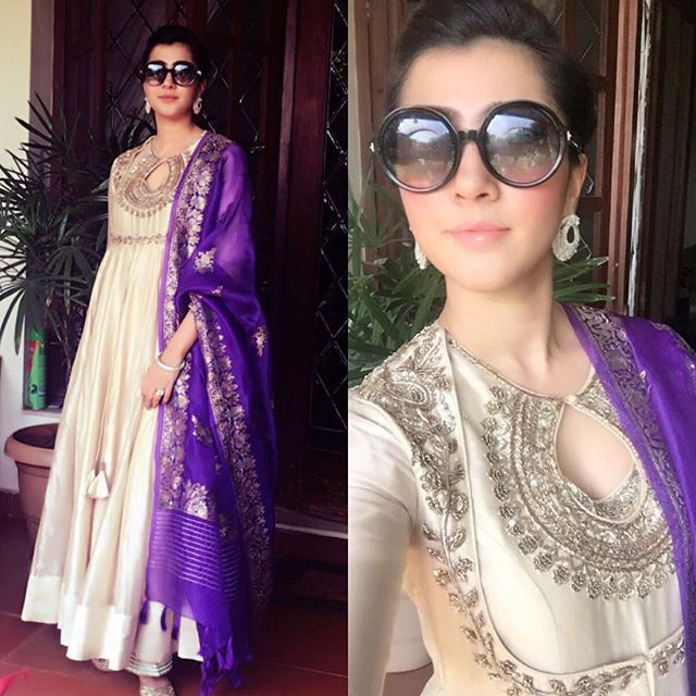 Stunner Shivangi Sahni @shivangi1888 looking lovely in our ivory keyhole anarkali! #JayantiReddy #JayantiReddyLabel #happyclients #clientdiaries #ivoryanarkali